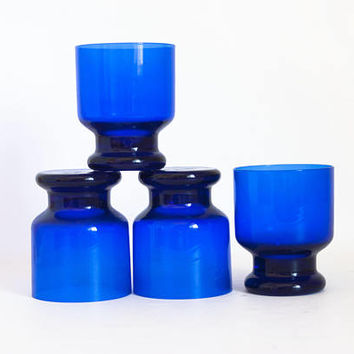 Vintage Small Cobalt Blue Glass Tumblers Juice Glasses, Stackable Heavy Weight Footed Cocktail Tumblers, (SET of 4)