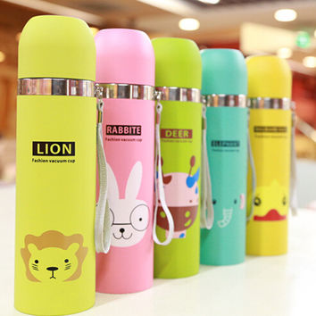 2015 Stainless Steel Water Bottle Insulated Tumbler Lovely Animal Pattern Vacuum Thermos Cup For Women Kids water Bottle