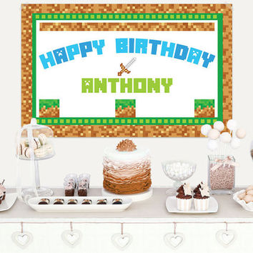 Video Game Birthday Vinyl Banner / Video Game Party Backdrop / Minecraft Birthday Vinyl Backdrop / Minecraft Party Banner