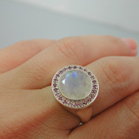 Moonstone Ring Band -  Sterling Silver 925 Round White Faceted Moon Stone & Purple Amethyst Gemstones