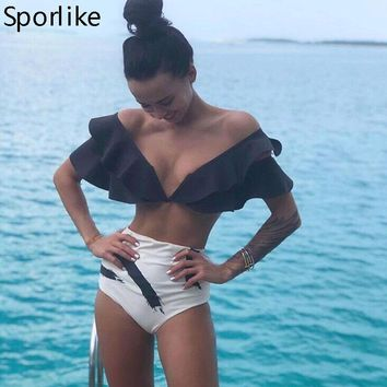 Sexy Bikinis 2019 New Double Shoulder Ruffle Bikini Set High Waist Swimwear Women Swimsuit V-Neck Bathing Suit Beach Wear Swim