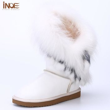 INOE sheepskin leather sheep fur lined rabbit fox fur tassels fashion women winter snow boots for women winter shoes waterproof