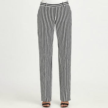Black and White Vertical Stripes  Straight Pants