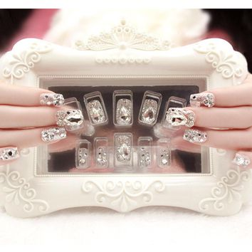 24pcs/Set Wedding Bride Nail Art Design Bling Rhinestone Decal Full Cover Artificial False Nails with Glue