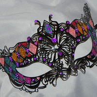 Multi Colored Metallic Masquerade Mask - Rainbow Mask