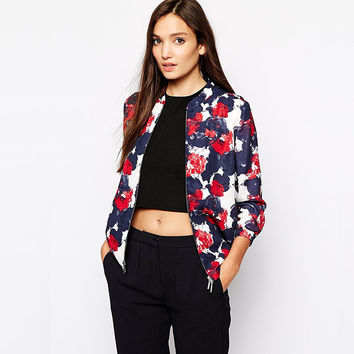 Casual Floral Print Long Sleeve Zipper Front Blue Sweater