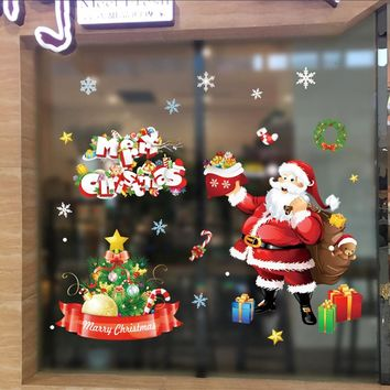 Merry Christmas Wall Stickers Removable Santa Claus Snowflake Shop Window Decals Christmas Decorations For Home