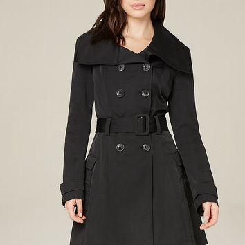 Pleated Flared Trench Coat | bebe