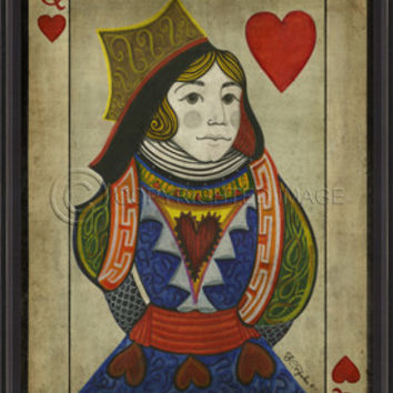 Playing Cards - Natural Edge - Queen of Hearts