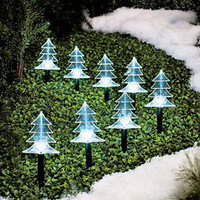 Set Of 8 Solar Lighted Trees Christmas Trees Pathway Yard Garden Outdoor Decor