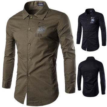 Men Long Sleeve Blouse Cotton Slim Shirt Jacket [6528872835]