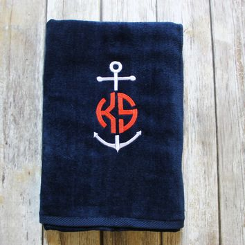 Anchor & Monogrammed Beach Towel