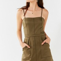 UO Devon Fit + Flare Contrast Stitch Dress | Urban Outfitters