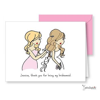 Will you be/Thank you for being my bridesmaid? Greeting Card Wavy Hair Down