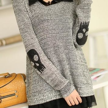 New Women Grey Skull 2-in-1 Applique Twinset Slits Back Buttons Fall Fashion Pullover