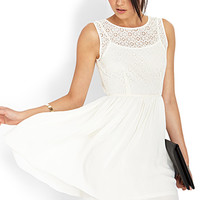 FOREVER 21 Crochet Fit & Flare Dress Cream Small