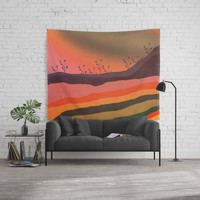 Abstract Retro Landscape 03 Wall Tapestry by vivianagonzlez