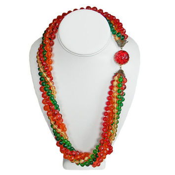 Long Bead Necklace Six Strand Bright Colors Decorative Clasp