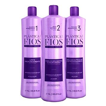 PLASTICA DOS FIOS BRAZILIAN KERATIN 3 STEPS TREATMENT KIT 1000ml (34oz)