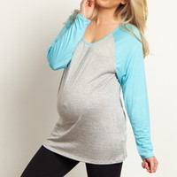 Light-Blue-Grey-Baseball-Sleeve-Maternity-Top