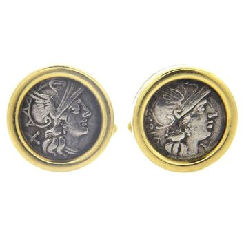 Bulgari Large Monete Ancient Coin Gold Cufflinks