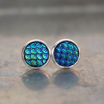 Magical Dragon Scales Stud Earrings - Deep Blues & Greens
