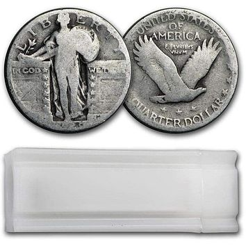 Silver Standing Liberty Quarters 40-Coin Roll (Dateless)