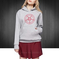 PENTAGRAMS GOTHICS OCCULT SATAN new Women Hoodies Pullover fashion cotton Lady Sweatshirts Round collar Free Shipping