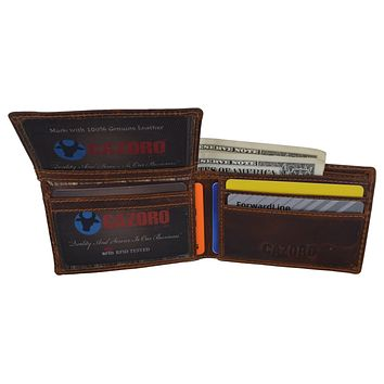 Small Mens Crazy Horse Leather Slim Bifold Card ID Wallet by Cazoro