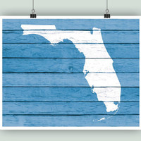 Florida art, Florida State print, Florida rustic faux wood print, PERSONALIZED state map, house warming, Miami city hearted, family est