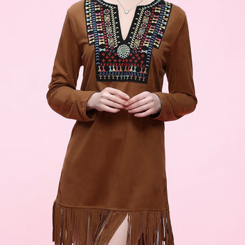 Brown Ethnic Long Sleeve Fringed Dress