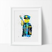 Lego Policeman 2 Watercolor Art Print