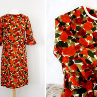 Vintage 1950's Rose Print Wool Pencil Dress with Ruffled Bell Sleeves - Size Medium to Large
