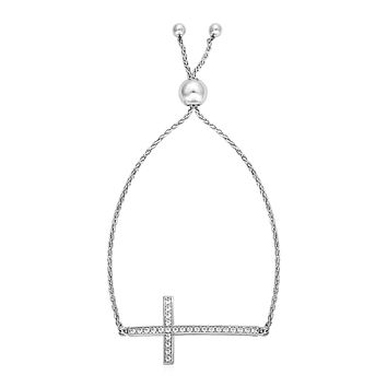 Adjustable Cross Bracelet with Cubic Zirconia in Sterling Silver