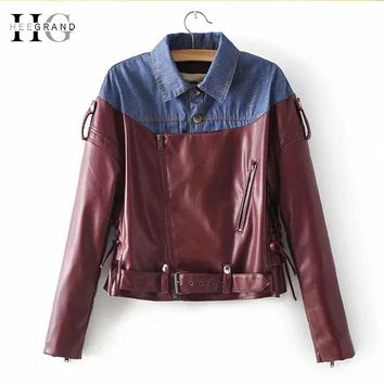 HEEGRAND Denim Patchwork Punk Jeans Jacket Autumn Women PU Leather Outwear Motorcycle Bomber Black Jackets and Coats WWP208