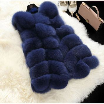 Fenghua Winter Faux Fur Coat Women Sleeveless Faux Fox Fur Women Vest Solid Waistcoat Fashion Lady Jackets Casaco Feminino