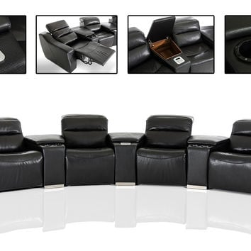 Divani Casa Salem Modern Black Italian Leather Recliner Sectional Sofa with Audio System