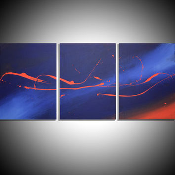 "LARGE WALL ART triptych 3 panel wall contemporary art canvas ""Song of the Sky"" original painting abstract canvas pop wall kunst 27 x 12"""