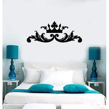 Vinyl Wall Decal Crown Above Bed Bedroom Home Interior Decor Stickers Mural (ig5872)