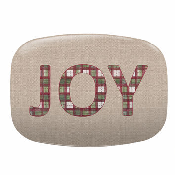 Christmas JOY Melamine Platter with Plaid lettering on Burlap