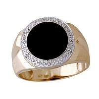 10kt Yellow Gold Onxy and Diamond Men's Ring