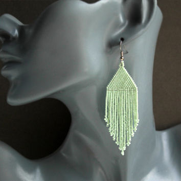 Mint earrings Beaded pastel earrings Modern seed bead jewelry Fringe beaded earrings Big long dangle earrings Long seed bead earrings Boho