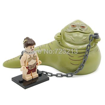 Star Wars Figure Single Sale Jabba the Hutt Princess Leia with chain Building Blocks Set Model Starwars Toys For Children
