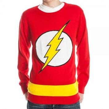 Flash Logo DC Comics Adult Knit Pullover Sweater