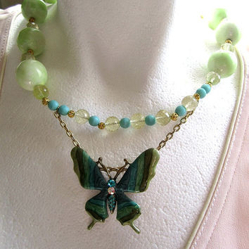 Vintage Butterfly and Green Gemstone Statement Necklace