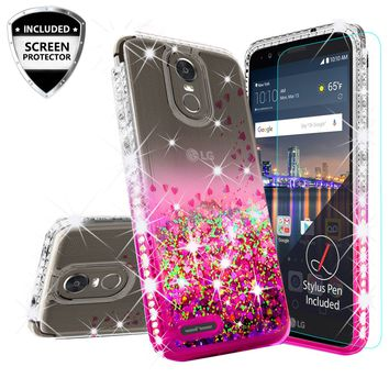 LG Stylo 3 Case, LG Stylus 3 Case Liquid Glitter Phone Case Waterfall Floating Quicksand Bling Sparkle Cute Protective Girls Women Cover for Stylo 3/Stylus 3 - Hot Pink