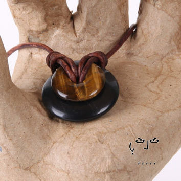 VujuWear Obsidian/Tiger's Eye Donut Necklace for Luck/Protection/Wealth