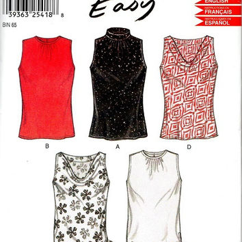 Simplicity New Look Easy Sewing Pattern Sleeveless Blouse High Neck Shirt Tie Waist Cowl Plus Size Bust 34 to 42