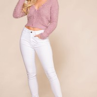 Heartbeat Lavender Fuzzy Button-Up Cardigan Top