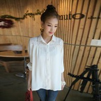 Loose-Fitting Delicate Lace Embellished Long Sleeves White Imitated Silk Shirt For Women (WHITE,FREE SIZE) China Wholesale - Sammydress.com
